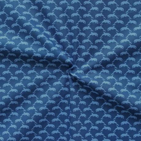 Baumwolle Popeline Delfine klein Blau