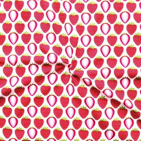 Baumwolle Popeline Erdbeeren Weiss