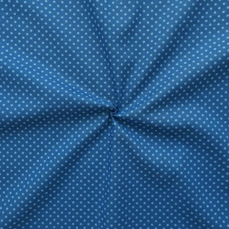 Baumwolle Popeline Punkte klein Blau Hell-Blau