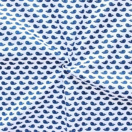 Baumwolle Popeline Wale klein Weiss Blau
