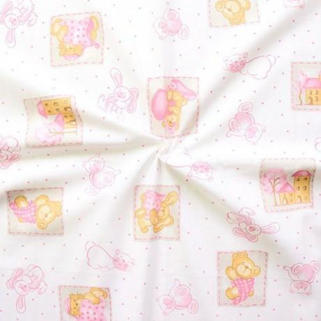 Baumwollstoff bedruckt Kinder Motive Weiss Rosa