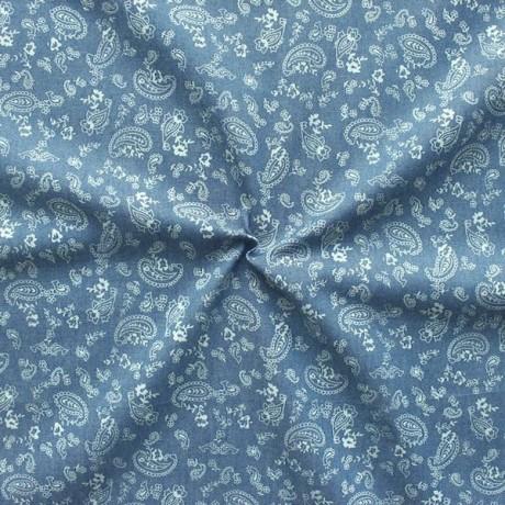 100% Baumwollstoff Chambray Jeans Paisley & Blumen Blau