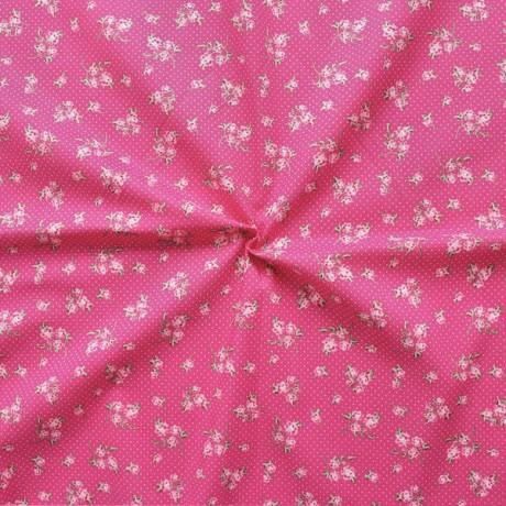 Baumwollstoff bedruckt Blumen und Punkte Pink