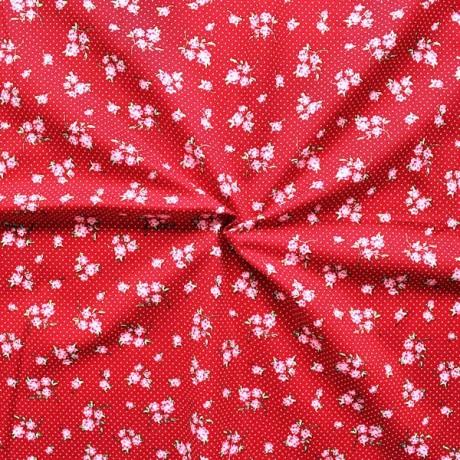 Baumwollstoff bedruckt Blumen und Punkte Rot