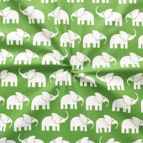 Baumwollstoff Elefanten Grün