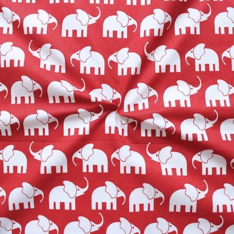 Baumwollstoff Elefanten Rot