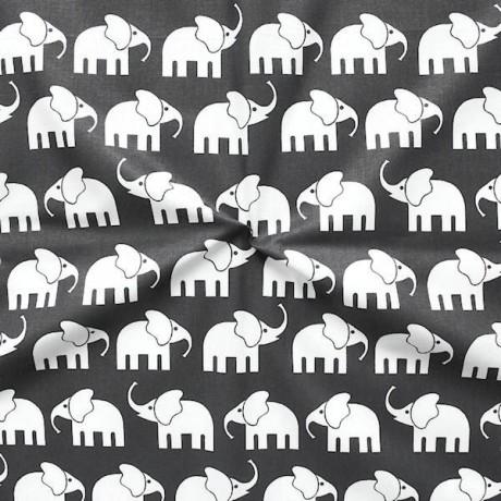 Baumwollstoff Elefanten Schwarz
