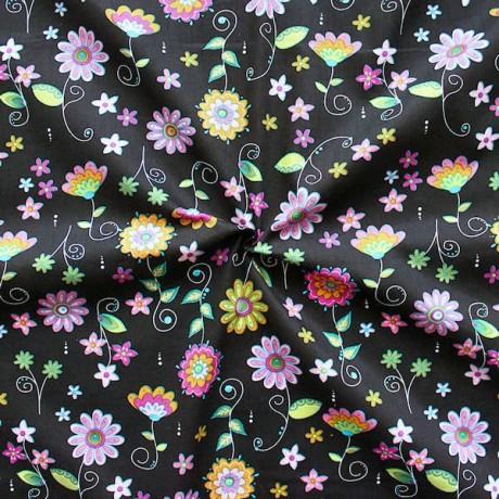 Baumwollstoff Fairy Flowers Schwarz
