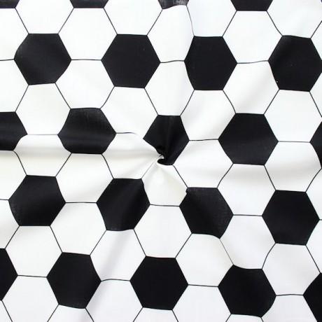 Baumwollstoff Fussball Muster Schwarz-Weiss