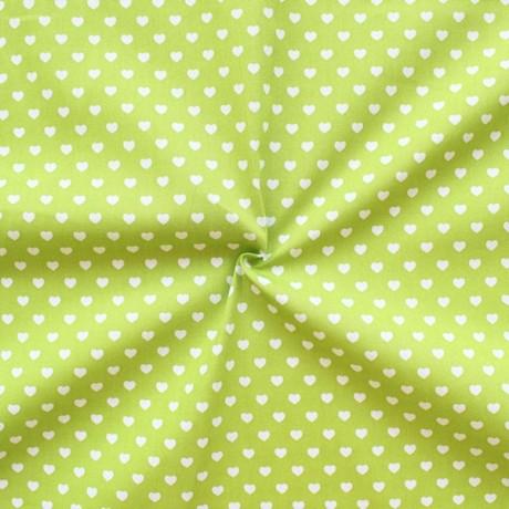 Baumwollstoff Herzen Lind-Grün