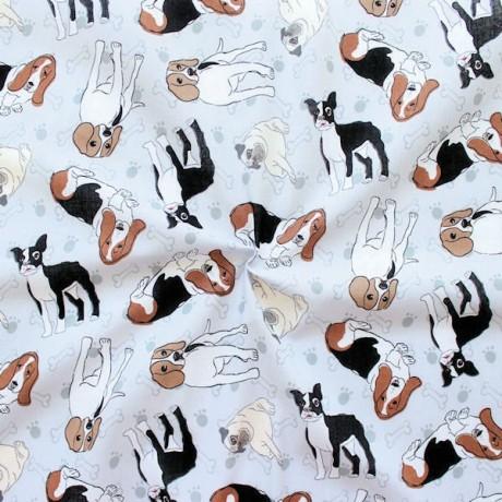 Baumwollstoff Hunde Mix Hell-Grau