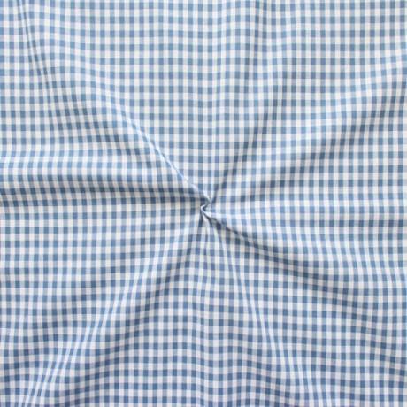 Baumwollstoff Karos Jeans-Blau Weiss