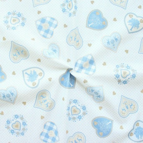 Baumwollstoff bedruckt Landhaus Motive Weiss Blau
