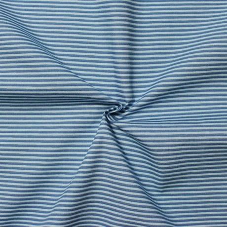 Baumwollstoff Ringel klein Blau