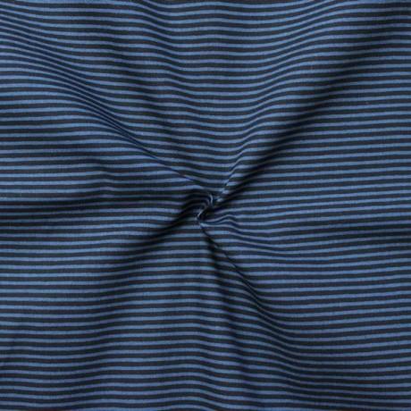 Baumwollstoff Ringel klein Blau-Schwarz
