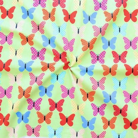 100% Baumwollstoff Schmetterlinge Bunt Hell-Grün