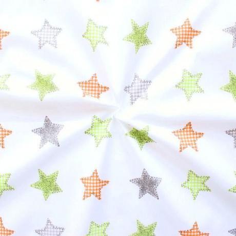 100% Baumwollstoff Sewing Stars Weiss-Grün