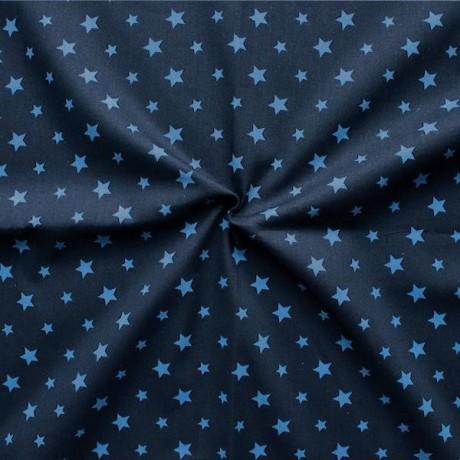 Baumwollstoff Sterne Mix Dunkel-Blau