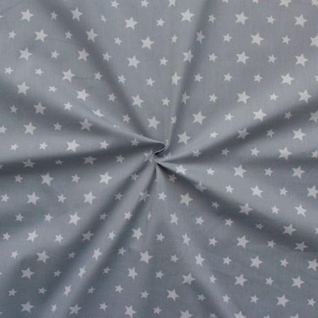 Baumwollstoff Sterne Mix Grau
