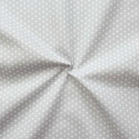Baumwollstoff Sterne mini Hell-Grau Weiss