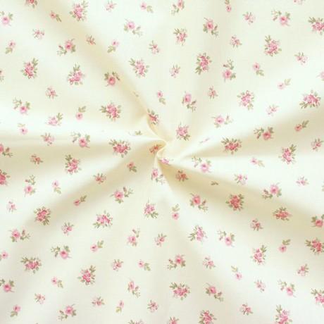 100% Baumwollstoff Streublümchen Hell-Beige Rosa