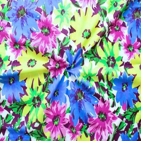 Baumwollstoff Sommer Blumen Multicolor