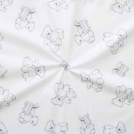 100% Baumwollstoff Teddybären Weiss