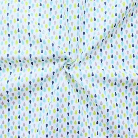 Baumwollstoff Druck Weiss-Grün-Blau