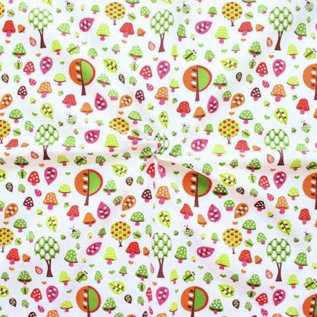 Baumwollstoff Druck Waldfreude Weiss Multicolor
