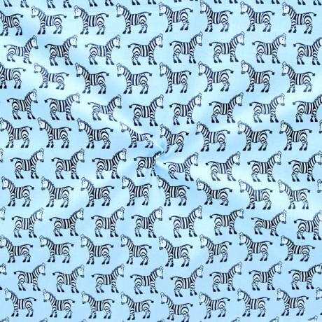 Baumwollstoff Zebras Hell-Blau