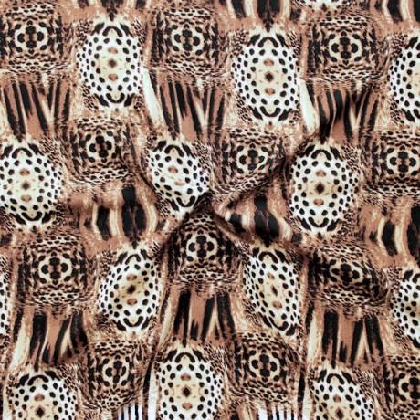 Viskose Javanaise Animal Print Braun