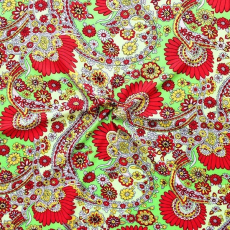 100% Viskose Javanaise Blumen Paisley XL Grün-Rot