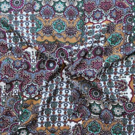 100% Viskose Javanaise Fashion Print Blau-Multicolor