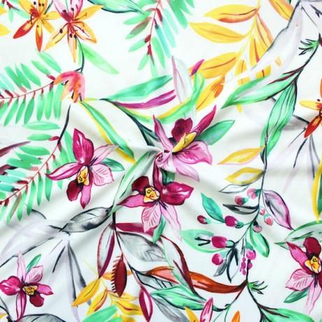 100% Viskose Twill Orchideen Multicolor