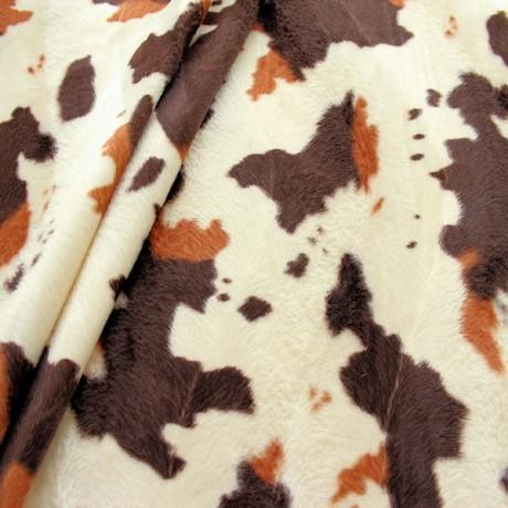 Kuh Tierfellimitat Braun-Beige gefleckt