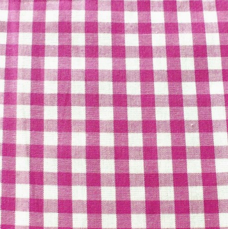Baumwollstoff Karo Pink-Weiss