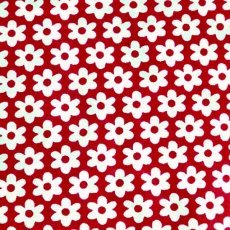 Baumwolle Popeline Blumen Rot