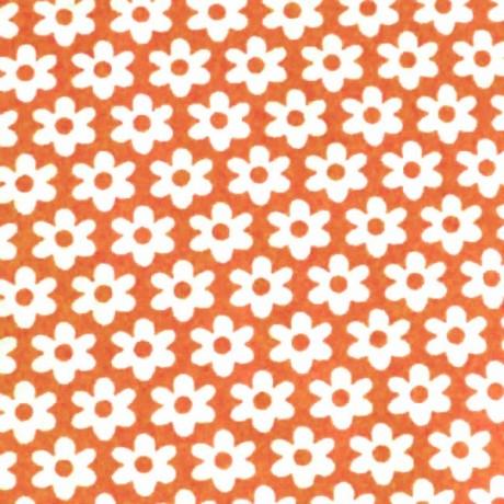 Baumwolle Popeline Blumen Orange