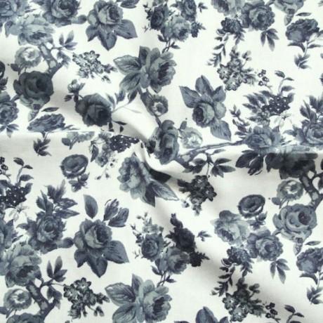 Baumwollstoff Rosen Grau-Blau Weiss