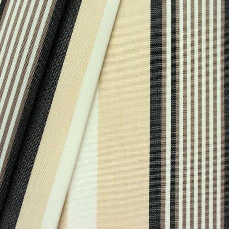 Markisen Outdoorstoff Streifen Schwarz-Beige-Weiss