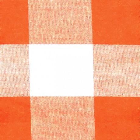 Baumwollstoff Karos Orange-Weiss