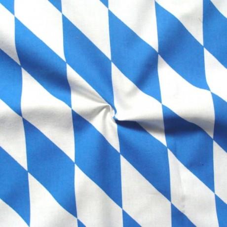 Baumwollstoff Bayern Raute groß Blau-Weiss