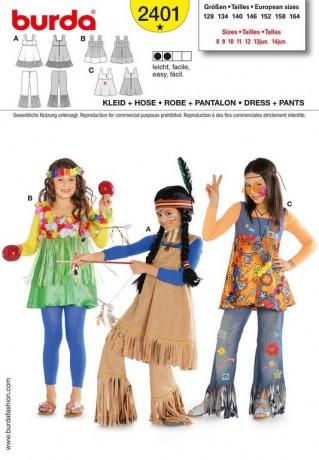 Indianerin,Hawaii-Mädchen,Hippie-Girl, Gr. 128 - 164, Schnittmuster Burda 2401