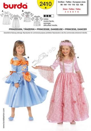 Prinzessin, Tänzerin, Gr. 98 - 128, Schnittmuster Burda 2410