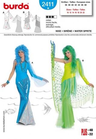 Nixe-Arielle-Meerjungfrau, Gr. 36 - 48, Schnittmuster Burda 2411