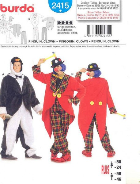 clown pinguin damen gr 36 56 schnittmuster burda 2415. Black Bedroom Furniture Sets. Home Design Ideas