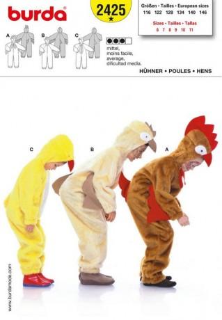 Hühner (Küken,Henne,Huhn,Hahn), Gr. 116 - 146, Schnittmuster Burda 2425