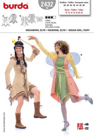 Indianerin, Elfe, Gr. 36 - 48, Schnittmuster Burda 2432