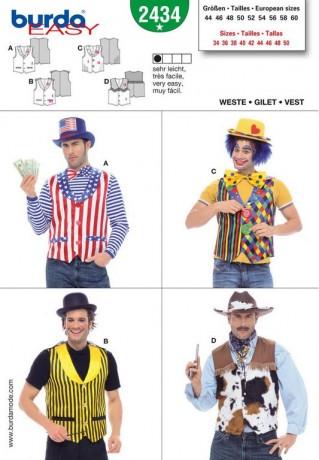 Weste, Broker, Clown, Magier, Gr. 44 - 60, Schnittmuster Burda 2434