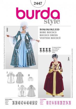 Rokokokleid, historisches Kleid, Gr. 36 - 52, Schnittmuster Burda 2447